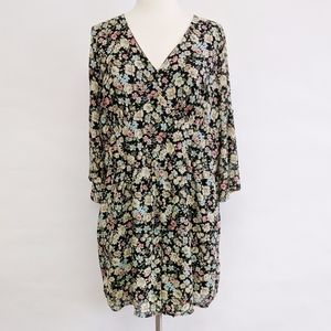zenobia | floral long sleeve v-neck romper sz 2XL